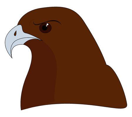 Brown hawk, illustration, vector on white background.