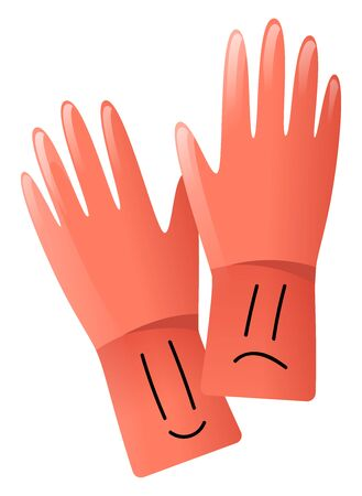 Red cleaning gloves, illustration, vector on white background.