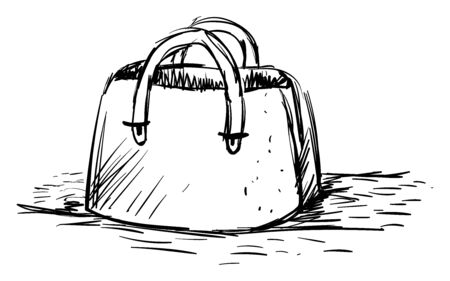 Handbag drawing, illustration, vector on white background