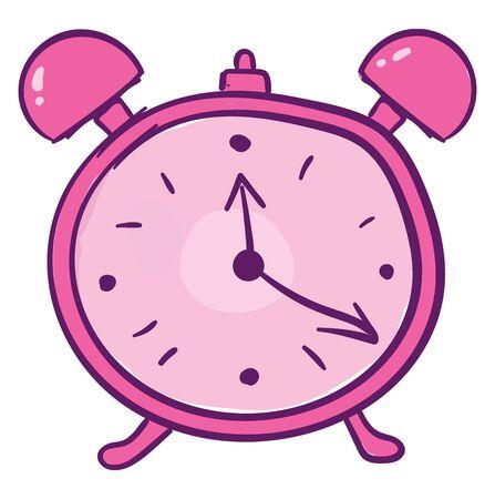 Pink alarm clock, illustration, vector on white background.
