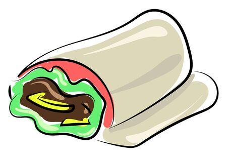 Shawarma drawing, illustration, vector on white background. Ilustracja