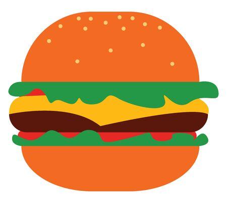 Delicious cheeseburger, illustration, vector on white background. Archivio Fotografico - 132789356