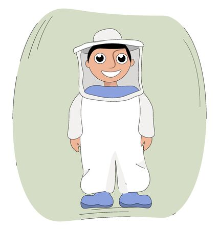 Beekeeper in a suit, illustration, vector on white background. Ilustrace
