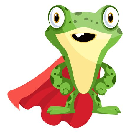 Superhero frog mascot wearing a cape, illustration, vector on white background.