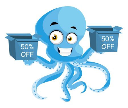 Octopus on sale, illustration, vector on white background.