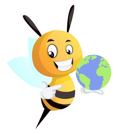 Bee holding a globe, illustration, vector on white background. 版權商用圖片 - 132790876