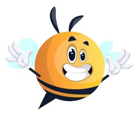 Happy yellow waving bee, illustration, vector on white background.