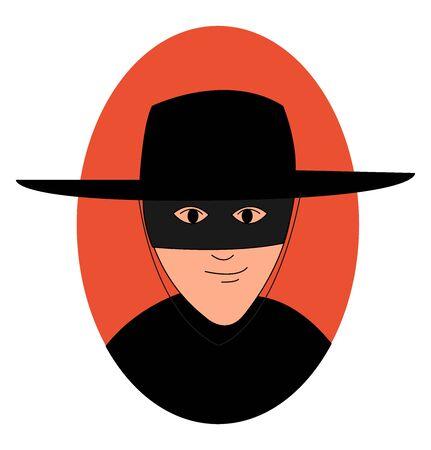 Zorro avec masque, illustration, vecteur sur fond blanc.