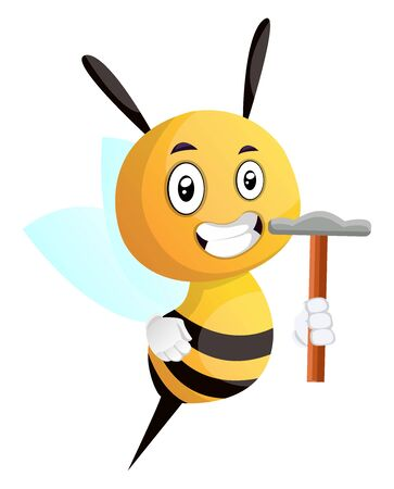 Bee holding a hammer, illustration, vector on white background.