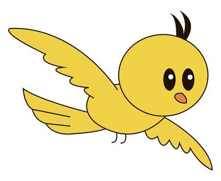 Yellow bird flying, illustration, vector on white background. Stock Illustratie