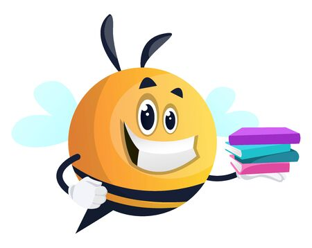 Smiling bee holding a book, illustration, vector on white background.