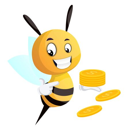 Bee pointing on the coins, bee holding coins, illustration, vector on white background.