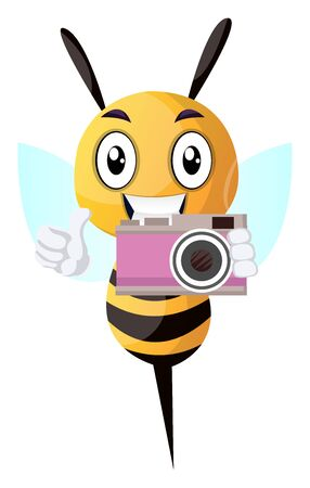 Bee holding a camera, illustration, vector on white background.