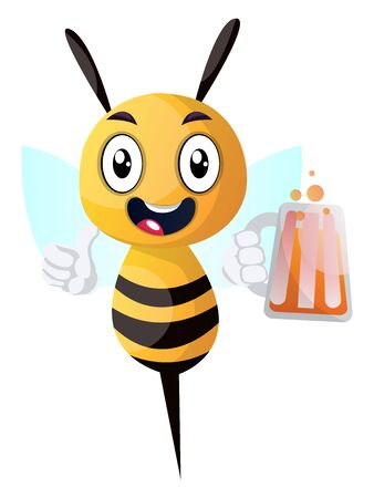 Bee holding a drink, bee holding a  beer, illustration, vector on white background.