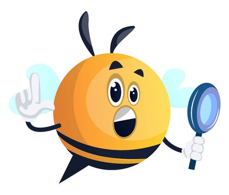 Bee holding a mirror, illustration, vector on white background.
