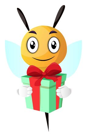 Smiling bee holding a present, illustration, vector on white background.