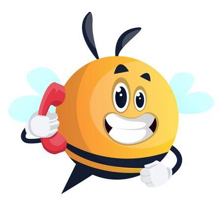 Bee talking on the phone, illustration, vector on white background. Illusztráció