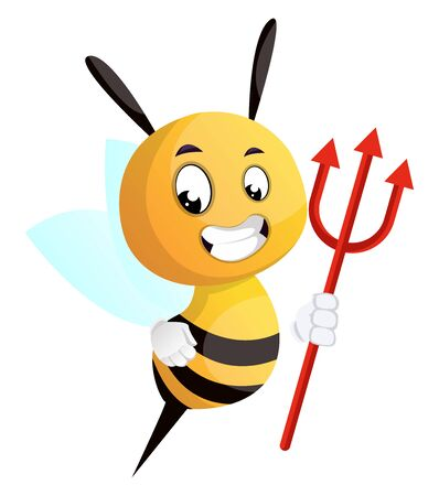 Bee with a trident, illustration, vector on white background. Vettoriali
