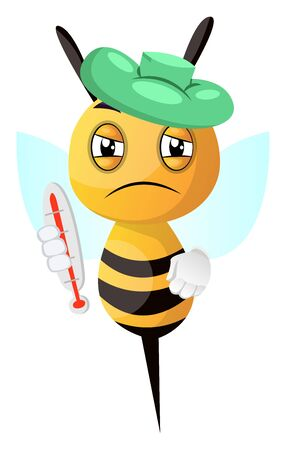 Sick bee, illustration, vector on white background.