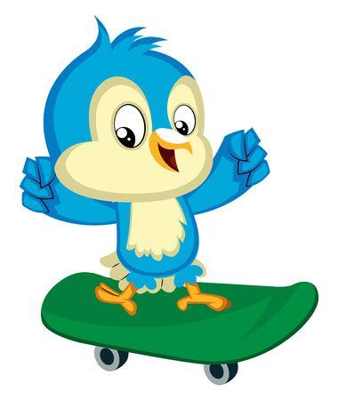 Blue bird on the green skateboard, illustration, vector on white background.
