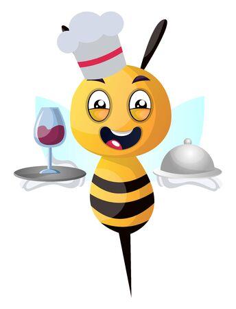 Bee as waiter, illustration, vector on white background.