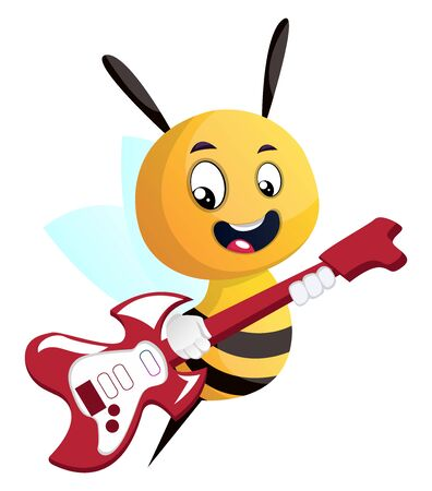 Bee playing a guitar, illustration, vector on white background.