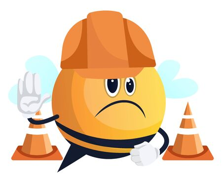 Bee with helmet on street, illustration, vector on white background.