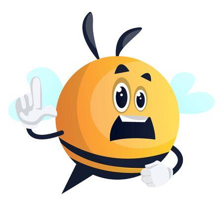 Concerned bee, illustration, vector on white background.