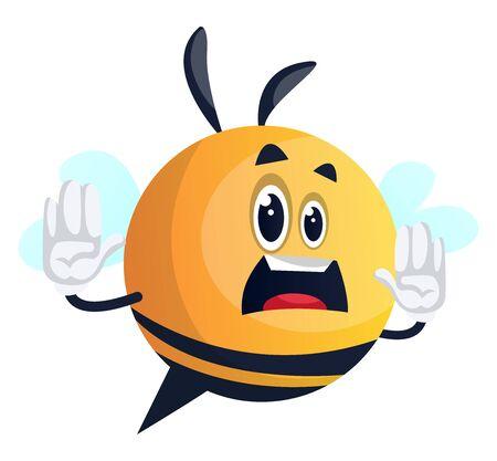 Bee warning, mouth wide open, upset, illustration, vector on white background. Illusztráció