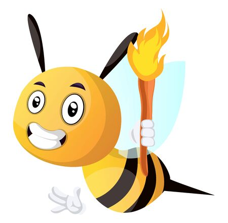 Bee holding a torch, illustration, vector on white background. Stock fotó - 132797244