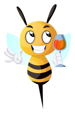 Bee holding a drink, bee drinking wine, illustration, vector on white background. Çizim