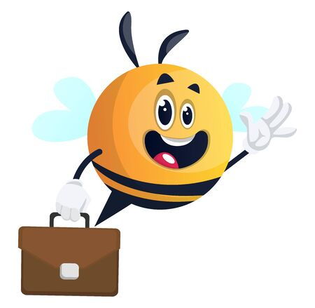 Bee waving with briefcase, illustration, vector on white background. Illusztráció