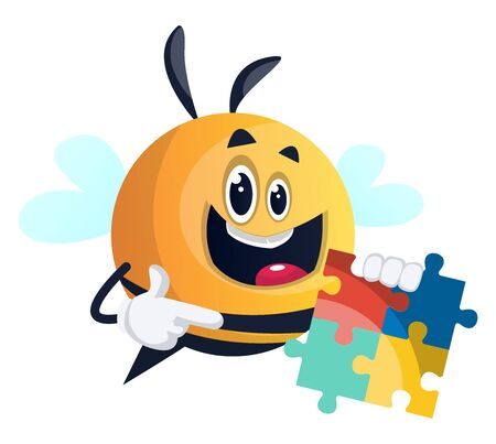 Bee holding a puzzle, illustration, vector on white background.
