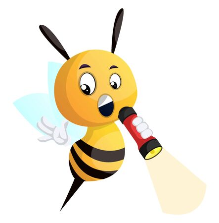 Bee holding flashlight, illustration, vector on white background.