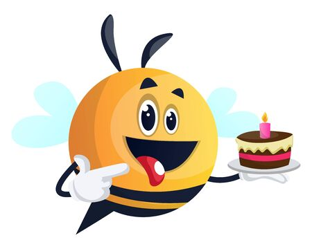 Bee holding a cake, bee pointing on the cake, illustration, vector on white background.