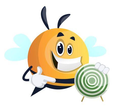 Bee showing target, illustration, vector on white background. Illusztráció