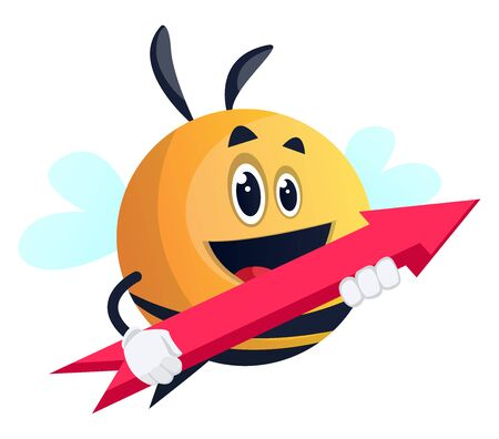 Bee holding an arrow, illustration, vector on white background.