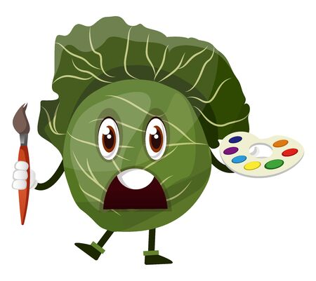 Cabbage is holding a brush and color palette, illustration, vector on white background. 向量圖像