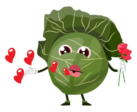 Cabbage holds a rose and sends kisses, illustration, vector on white background.