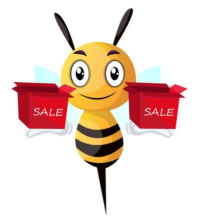 Bee holding two sale boxes, illustration, vector on white background.