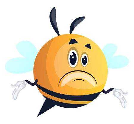 Confused bee, illustration, vector on white background. Illusztráció