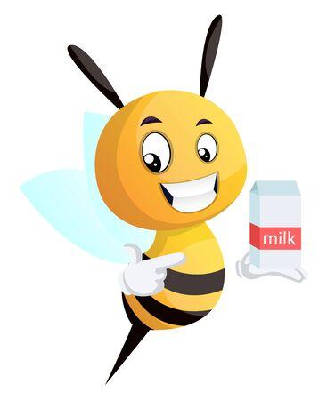 Bee pointing on the milk, illustration, vector on white background. Illusztráció