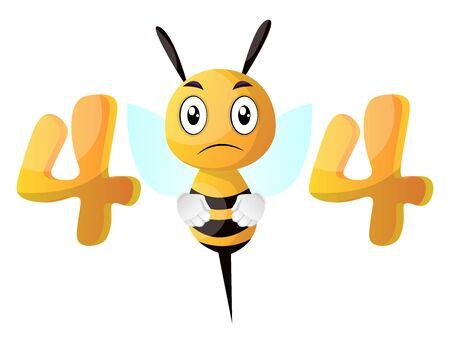 Yellow sad bee  , illustration, vector on white background.