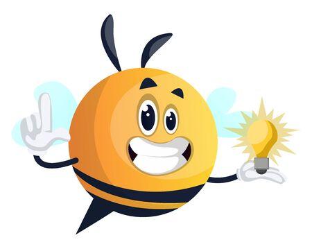Bee holding a light bulb, illustration, vector on white background. Illusztráció