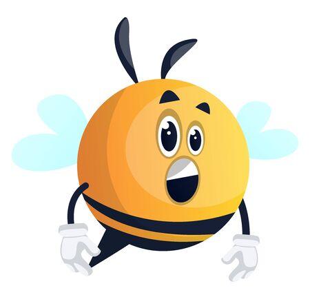 Surprised bee, illustration, vector on white background. Illustration