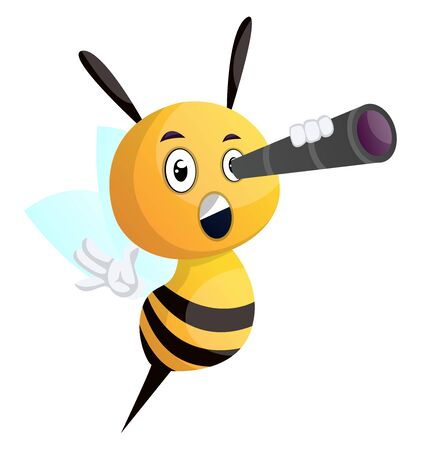 Bee looking through telescope, illustration, vector on white background.