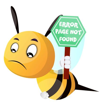 Bee holding sign page not found, illustration, vector on white background. 일러스트