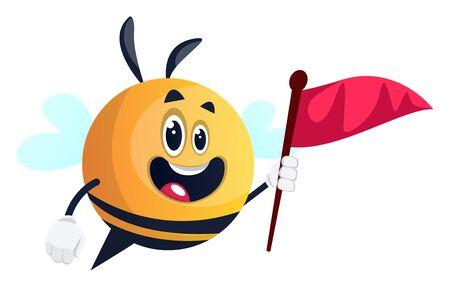 Bee holding red flag, illustration, vector on white background.