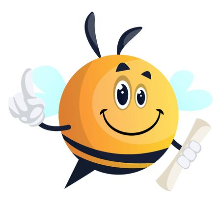 Bee holding roll, illustration, vector on white background.