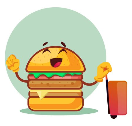 burger is pulling the suitcase, illustration, vector on white background. Archivio Fotografico - 132797304